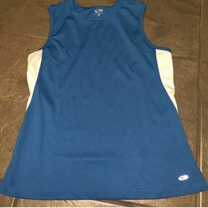 Champion semi-fitted blue and white tank